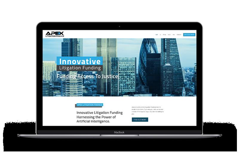 Apex Litigation website on laptop
